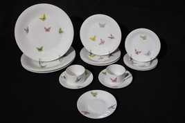 14pc A. Vignaud Limoges BUTTERFLIES Plates & Cup 5pc Place Setting for 3... - $149.99