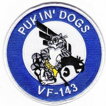 """NAVY VF-143 PUKIN DOGS FIGHTER SQUADRON FIGHTING TOMCAT  4"""" EMBROIDERED ... - $17.09"""
