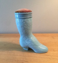 70s Avon Blue Fashion Boot cologne bottle with pin cushion topper (Charisma)