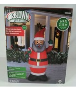AIRBLOWN INFLATABLE Christmas African American Santa Lights Up 6.9ft Gemmy - $54.99
