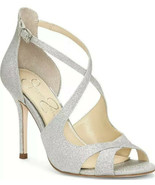 Jessica Simpson Womens Averie Silver Open Toe Evening Heels Shoes 5.5 Me... - $33.65