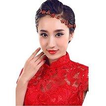 Flower Rhinestones Beads Bridal Wedding Lace Headband Hair Accessories, F