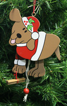 Kurt S. Adler Vintage 1990's Animated Wooden Santa Dog Christmas Tree Ornament - $7.99