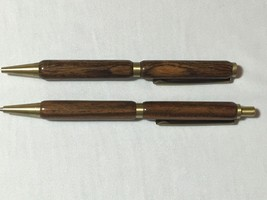 Slimline twist pen & pencil set, Bocote, antique brass hardware - $40.10