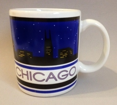 Cup Chicago Illinois Souvenir Coffee Mug Night Skyline Ceramic Collectib... - $20.00