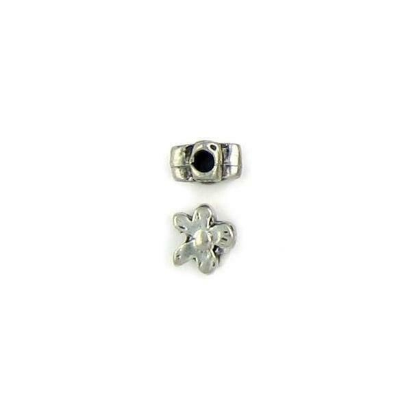 DAISY FLOWER FINE PEWTER BEAD - 7x8x5mm  Hole: 3mm