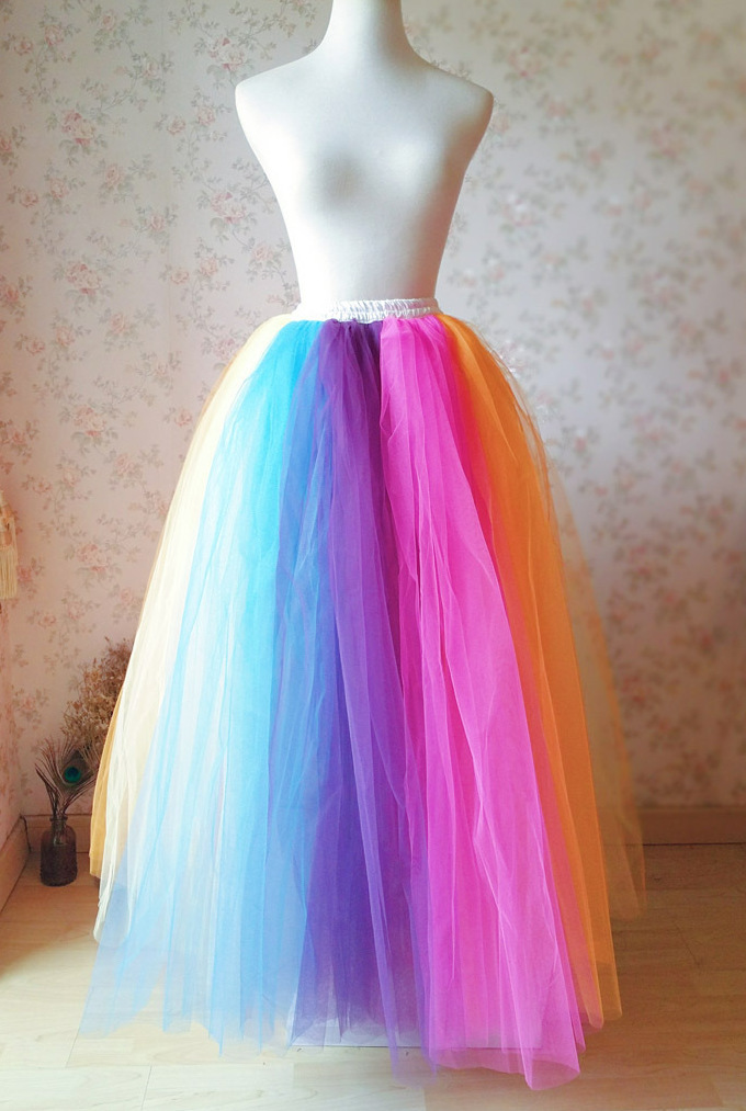 Primary image for Women Girl RAINBOW Skirt Elastic Waist Maxi Floor Length Tulle Skirt Plus Size