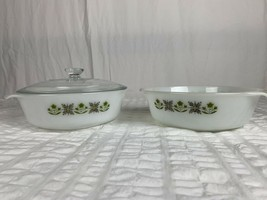 2  Vtg Anchor Hocking Fire King Round 1 1/2 Casserole Meadow Green #437 ... - $29.69