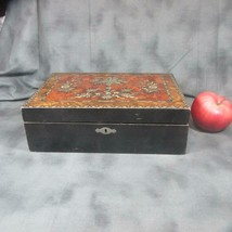 Antique Slope Wooden Lap Desk w/ Elaborate Top Veneer - $126.23