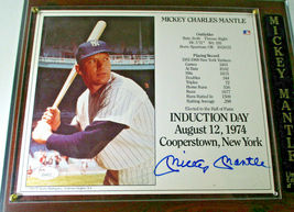 MICKEY MANTLE / AUTOGRAPHED 1974 INDUCTION DAY PHOTO ON PLAQUE / JSA FULL LOA