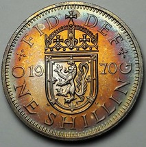 1970 UNITED KINGDOM 1 SHILLING PROOF REMARKABLE TONED COLORING UNC BU CH... - $197.99