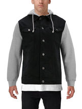 Men's Two Tone Jean And Grey Jersey with Removable Hood Denim Trucker Jacket image 11