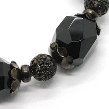 925 STERLING SILVER BURNISH ELASTIC BRACELET WITH BLACK ONYX NUGGETS AND SPHERES image 2