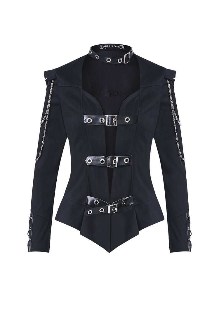 Black Military Punk Buckled Army Captain Goth Jacket w Chains Fall Spring Coat