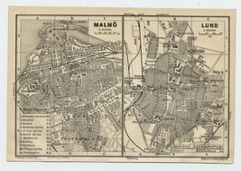 1909 ORIGINAL ANTIQUE CITY MAP OF MALMO MALMOE / LUND / SWEDEN - $25.74