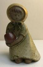 Vintage UCTCI Girl Figurine Holding Flower Pot Stoneware Japan Matte Gla... - $9.33