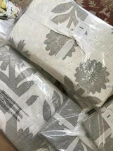 Pottery Barn Lilo Quilt Set Gray Queen 2 Euro Sham Floral Farmhouse 3pc - $291.86