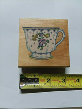 Vintage China Tea Cup Wood Backed Rubber Stamp 1994 - $4.00
