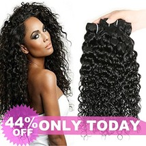 "Water Wave 3 Bundles 10"" 12"" 14"" Brazilian Human Hair 8A Unprocessed Wet and Wav image 1"