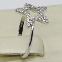 18K WHITE GOLD STAR CENTRAL ZIRCONIA RING, BRIGHT, LUMINOUS, BAND, MADE IN ITALY image 2