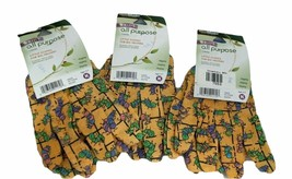 Handmaster Kids 3 Pack All Purpose Canvas Gloves Age 3-7 Yellow w/Caterp... - $10.72
