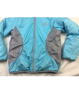 The North Face Hood Jacket Aqua Gray Girls M 10/12 With FLAWS - $18.69