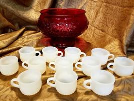 Vtg Jeannette Fruit Ruby Flash Punch Bowl w/ 12 Milk Glass Cups (circa 1... - $35.00