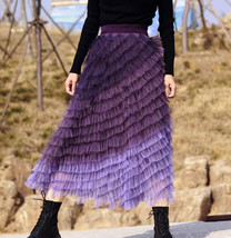 Purple Layered Tulle Midi Skirt A-line High Waisted Tulle Ruffle Skirt image 6