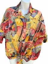 Vintage 90's The Limited Mujer Brillante Coloridos Cuello Botón Frente T... - $19.78