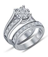 Round Cut Diamond Bridal Set Engagement Ring 14K White Gold Finish 925 S... - $96.85
