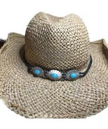 Dorfman Pacific Co Western Straw Hat DPC Small Medium 3 Faux Turquoise C... - $12.99