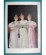 "YOUNG LADIES Sing New Year Songs - COLOR VICTORIAN Era Print 14.5"" x 21"" - $16.84"