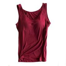 Womens Modal Built-in Bra Padded Camisole Yoga Tanks Tops Burgundy XXL - $15.43