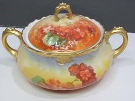 Antique B & H Limoges Covered Handled Biscuit Cracker Jar Hand Painted - $99.00