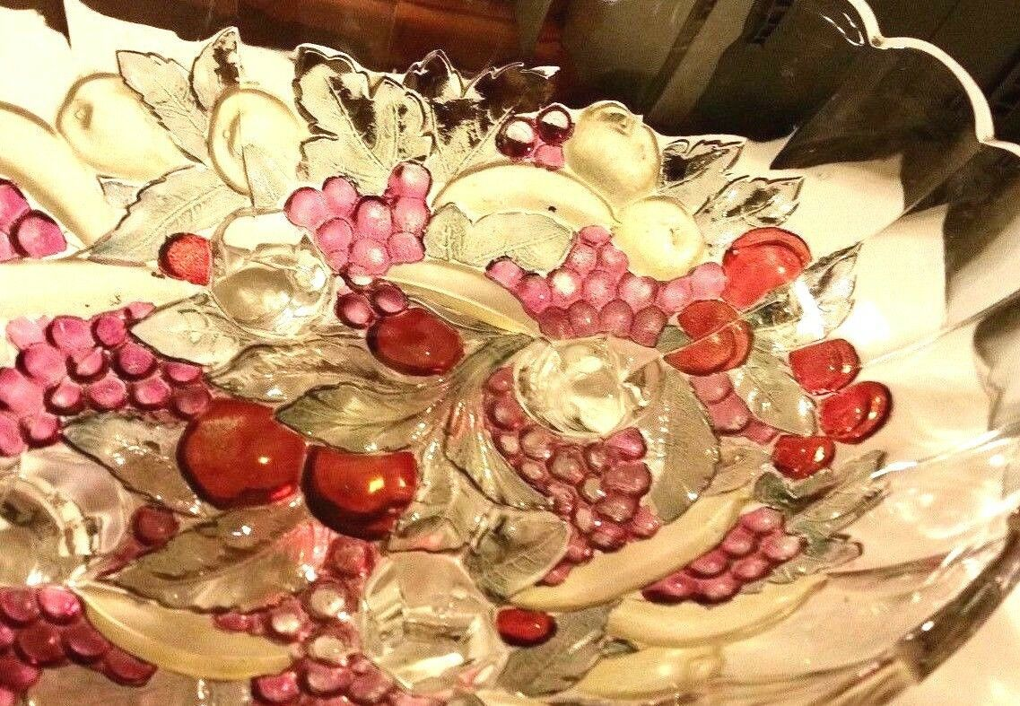 Indiana Carnival Glass Clear Iridescent Colored Large Oval Footed Fruit Bowl