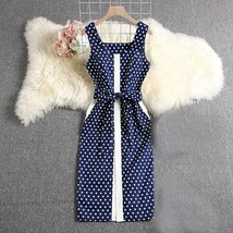 2019 New Elegant Dress Sleeveless Uncovered Buttons Slim Fit Sashes Mid ... - $45.00