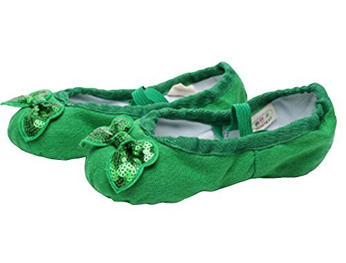 Dance Class Ballet Shoes/Dance Shoes For Pretty Girl (19CM Length) Green Bowknot