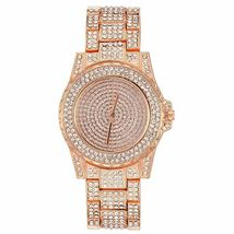 Women Jewelry Set 14K Rose Gold Necklace Earrings Watch Set made with Swarovski image 3