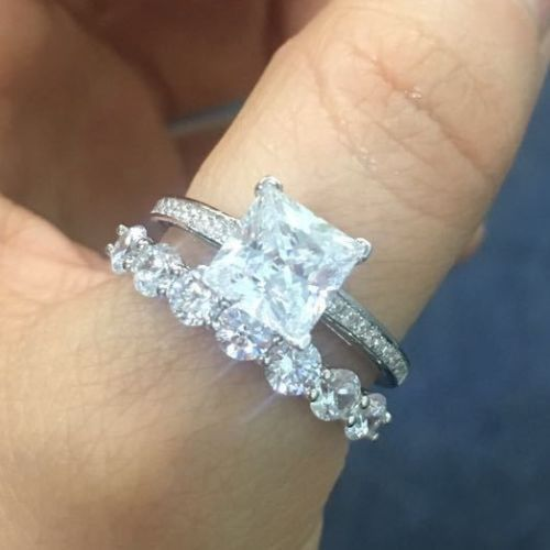 Solid 14k White Gold Prong Set Swarovski Diamond Exclusive 2Pc Anniversary Ring