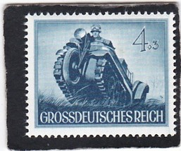 1944 WWII Chain-Wheeled Motorcycle Germany Postage Stamp Catalog B258 MNH