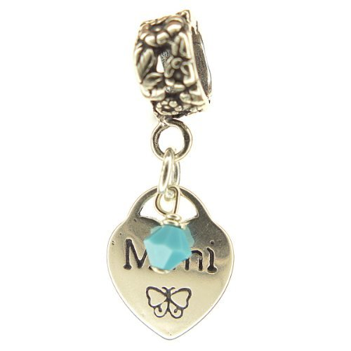 Mimi Heart Turquoise Crystal December Birthstone Small Sterling Silver Dangle Fa