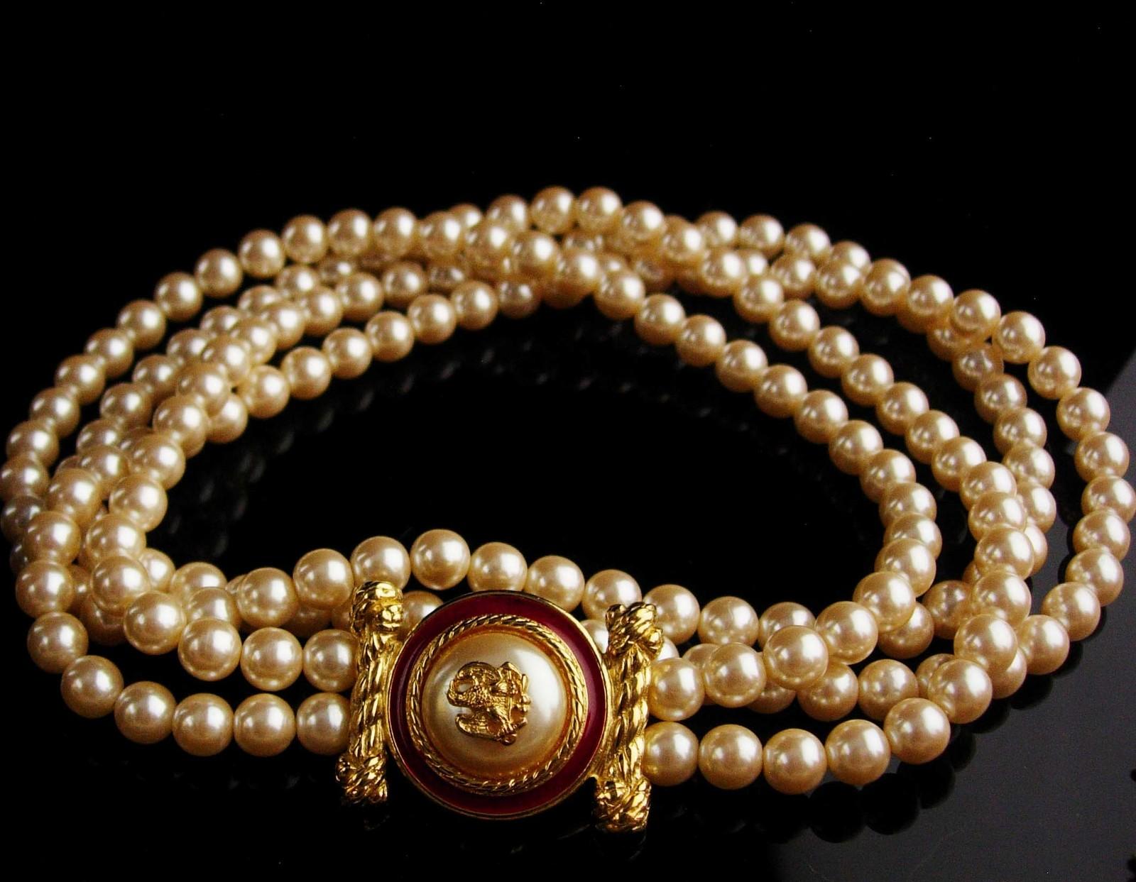 "LARGE designer pearl necklace / Richelieu enamel eagle  / 28""  wedding jewelry /"