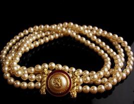 """LARGE designer pearl necklace / Richelieu enamel eagle  / 28""""  wedding jewelry / image 6"""