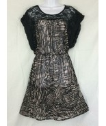 Daytrip Black Lace Bodice Ruffle Sleeve Elastic Waist Sheer Mosaic Dress... - $16.74