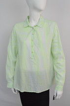 Tommy Hilfiger Nwt Womens Green & White Striped Sheer Button Up Blouse Sz Medium - $14.70