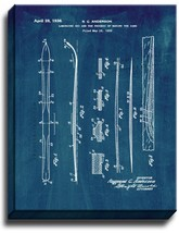 Laminated Ski Patent Print Midnight Blue on Canvas - $39.95+