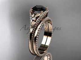 Flower bridal set 14k rose gold unusual Black diamond engagement ring AD... - $1,435.00