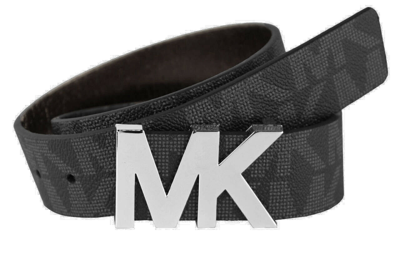 Primary image for Michael Kors Women's Signature MK Silver Logo Buckle Belt Black Size M New