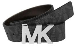 Michael Kors Women's Signature MK Silver Logo Buckle Belt Black Size M New  - $34.98