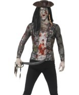 Zombie Pirate T-Shirt, Large, Adult Fancy Dress Costumes, Mens - $531,01 MXN